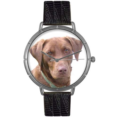 Chocolate-Labrador Retriever Print Watch in Silver Large