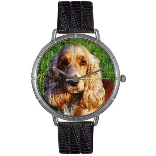Cocker Spaniel Print Watch in Silver Large