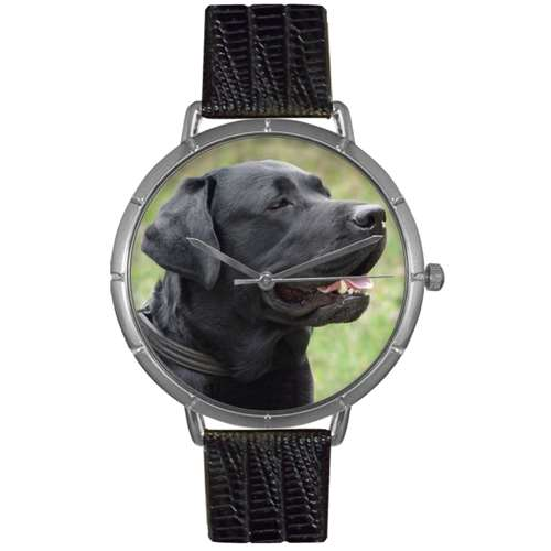 Black-Labrador Retriever Print Watch in Silver Large