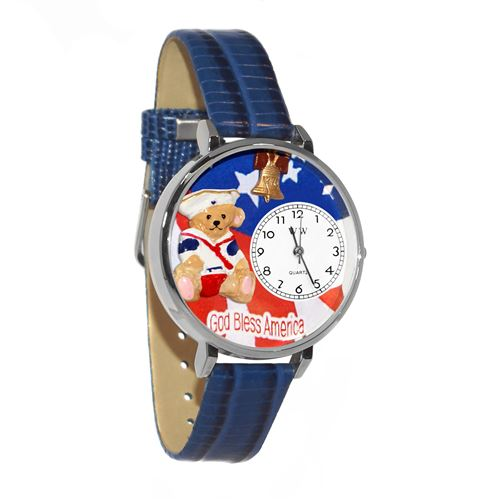Patriotic Teddy Bear Watch in Silver (Large)