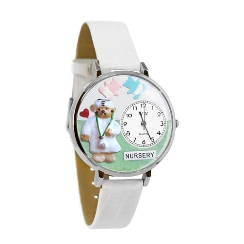 Nurse Teddy Bear Watch in Silver (Large)