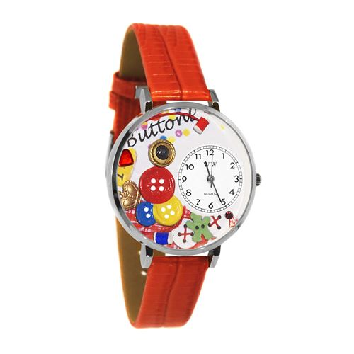 I Love Buttons Watch in Silver (Large)