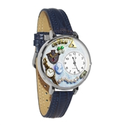 Jewelry Lover Pearls Blue Watch in Silver (Large)