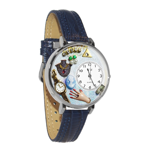 Jewelry Lover Blue Watch in Silver (Large)