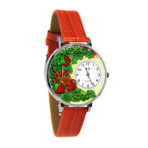 Strawberries Watch in Silver (Large)