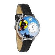 Halloween Flying Witch Watch in Silver (Large)