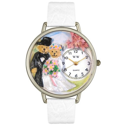 Teddy Bear Wedding Watch in Silver (Large)
