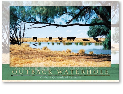 Outback Waterhole - Large Postcard  AOBL-014