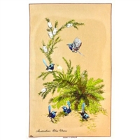 BLUE WRENS BEIGE Cotton/Linen Tea Towel - BC411