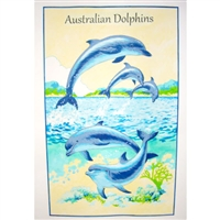 AUSTRALIAN DOLPHINS Cotton/Linen Tea Towel - C016