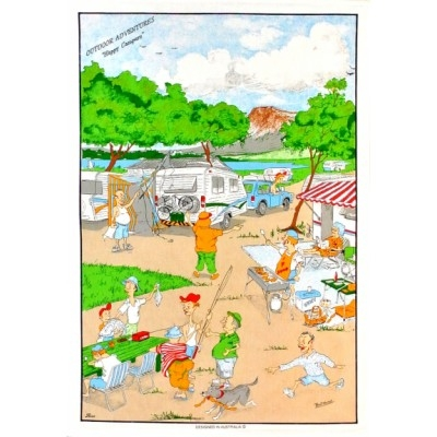 "OUTDOOR ADVENTURE ""HAPPY CAMPERS"" Cotton/Linen Tea Towel - C770"
