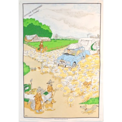 SHEEP CROSSING Cotton/Linen Tea Towel - C771