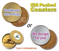 GIFT PACKED COASTERS - SET OF 4 ALUMINIUM COASTERS IN ATTRACTIVE GIFT BOX