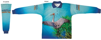 Brolga with Pandanus - Sublimated Polos K20