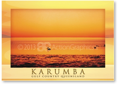 Karumba, Orange Wash Sunset - DISCOUNTED Standard Postcard  KAR-078