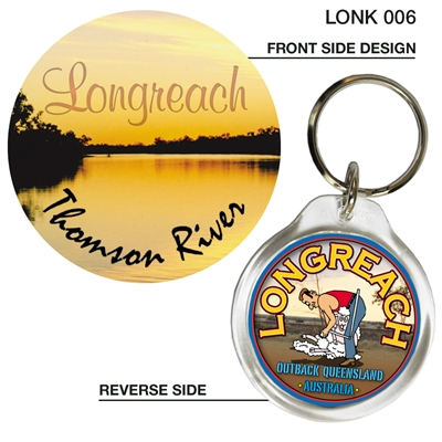 Longreach Thomson River Sunset - 40mm Round Keyring LONK-006