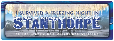 I survived a freezing night in Stanthorpe on The Granite Belt Queensland Australia - Bumper Sticker  STPBS-002