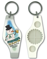 Snowman with beer - Stubby Opener Keyring  STPSO-003