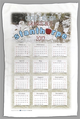 Calendar with Snow Scene Stanthorpe - Sublimated Tea Towels STPTT-006