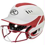 Rawlings Velo Senior 2-Tone Home Softball Helmet w/Mask-Red