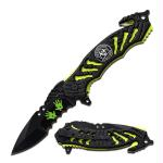 Z-Hunter Spring Assisted Knife 3.5in Bld-Zombie Green Liner