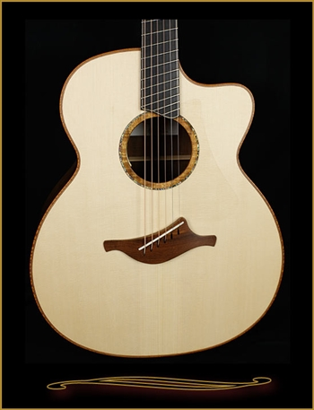 Lowden O-50C Fan Fret in Bastone Walnut with Alpine Spruce Top