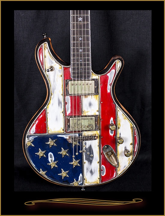 mcswain guitars red white and bullets american flag sm 1. Black Bedroom Furniture Sets. Home Design Ideas