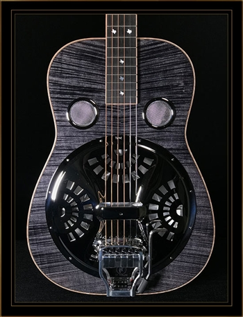 Beard E-Model Squareneck Resonator in Black Ice with Hipshot Doubleshot Bridge and Fishman Electronics
