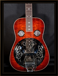 Beard E-Model Squareneck Resonator in Amber with Fishman Electronics and Hipshot Doubleshot Bridge