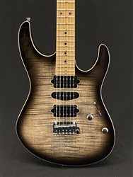 Suhr Modern Plus in Transparent Charcoal Burst with Roasted Maple Fingerboard