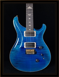 PRS Custom 24 in Blue Matteo with Black Back and Flame Maple 10 Top