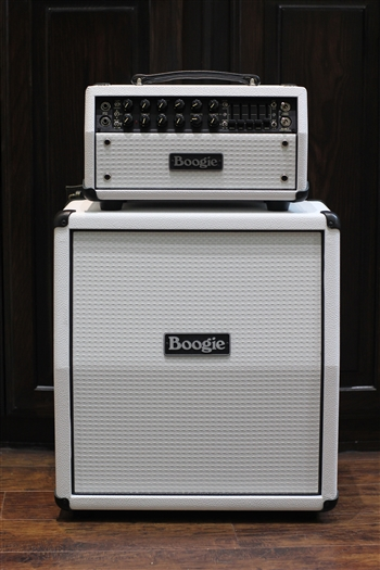 Mesa Boogie Mark Five: 25 Head and Mini Rectifier 1x12 Slant Cabinet in Hot White with White Grille at Mesa Boogie North Dallas The Guitar Sanctuary McKinney Texas