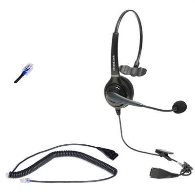 Professional Call Center Headset for Avaya, Mitel, Polycom and many other phones with RJ9, RJ11 headset jack