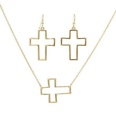 15609 ANTIQUE/CROSS NECKLACE SET