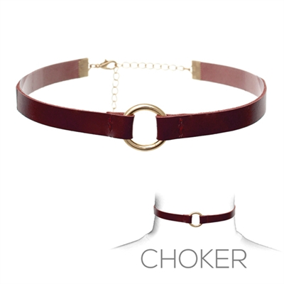 16001JT LEATHER/RING CHOKER