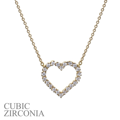 16093VCR RHINESTONE CHAIN HEART NECKLACE
