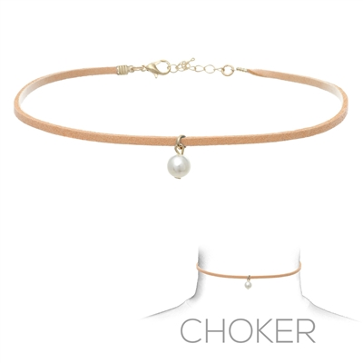 16133 SINGLE PEARL SUEDE CHOKER