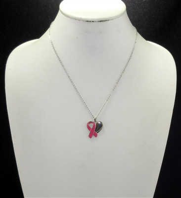 16157 Hope Heart Pink Ribbon Necklace