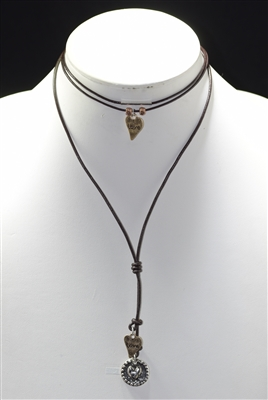16225V HAMMERED PENDANTS/LEATHER NECKLACE SET OF TWO