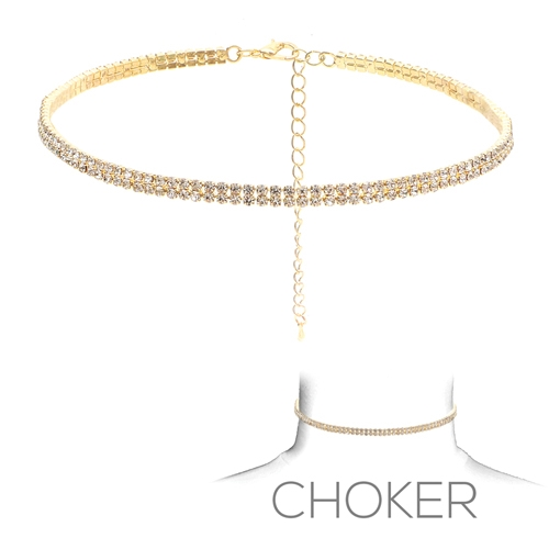 16303CR TWO LINE RHINESTONE CHOKER