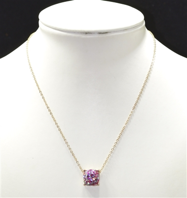 16355G GLITTERED CRYSTAL SHORT NECKLACE