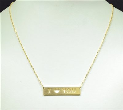 16679 ANTIQUE I LOVE YOU BAR NECKLACE