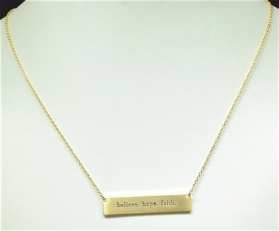 16743 ANTIQUE BELIEVE. HOPE. FAITH. BAR NECKLACE