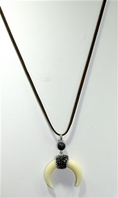 16828BE-S CRESCENT SUEDE NECKLACE