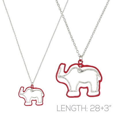 16977LSI RED ELEPHANT CHAIN NECKLACE