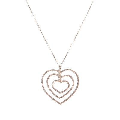 16988VCR RHINESTONE TRIPLE HEART NECKLACE