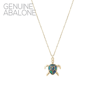 17143 ANTIQUE ABALONE TURTLE  THIN NECKLACE