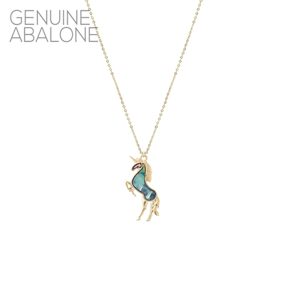 17144 ANTIQUE ABALONE HORSE  THIN NECKLACE