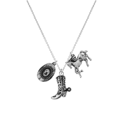 17166 SILVER HAMMERED COWBOY BOOT & CHARMS SM NK
