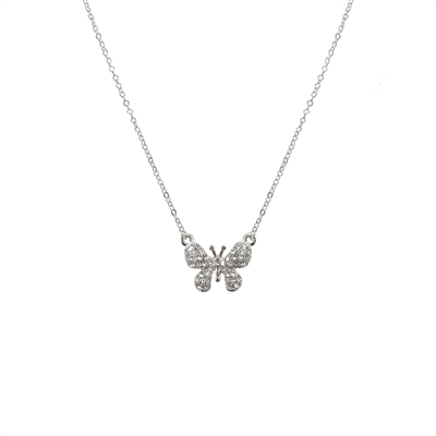 17328CR SMALL GOLD RHINESTONE BUTTERFLY NK